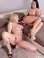 Sapphic Double Dong Excitement: Voluptuous Bombshells Get Frisky free photos and videos on DDFBusty.com