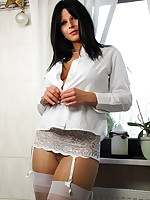 Dressed in all white shirt to strip it all off | PantyhoseDiva.com